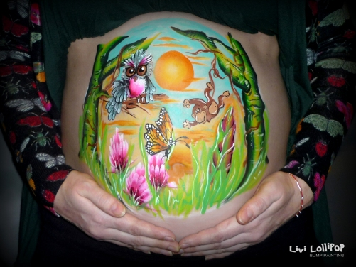 Jungle pregnancy bump painting