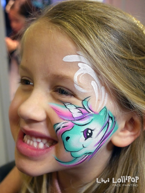 unicorn face painting flipped logo